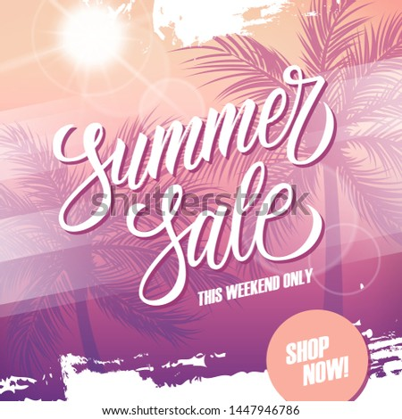 Summer Sale promotional banner. Summertime season special offer background with hand lettering, palm trees and summer sun for business, seasonal shopping and advertising. Vector illustration.