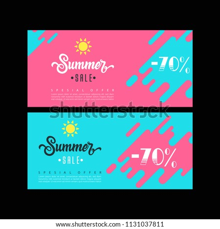 Summer sale. Sale banner template. Colorful brochure design. Facebook Cover. Facebook banner. Gift card. Sale voucher.