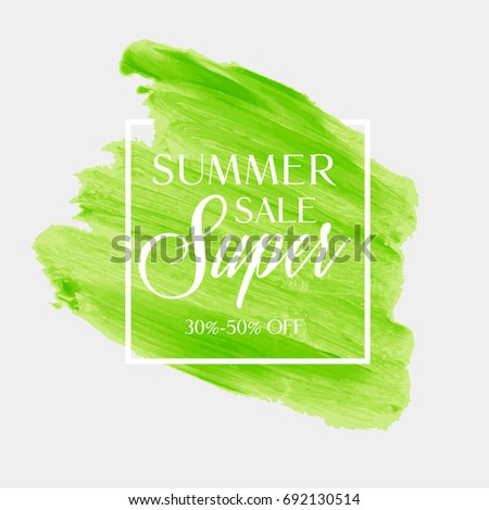 summer sale sign over watercolor art brush stroke paint abstract