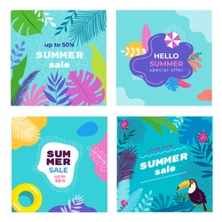 Summer Sale Social Media Banner post Templates set with tropical leaves, plumeria, monstera, sand umbrella, toucan, pool floats, pool background. template for for card, poster, flyer, web and print.