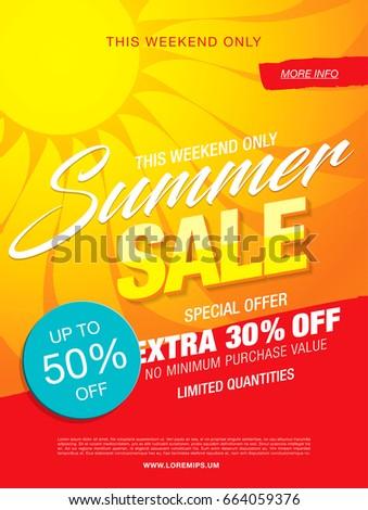 summer sale template banner, vector illustration