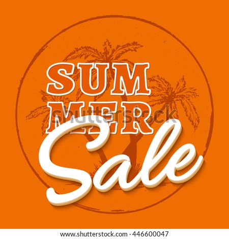 Summer sale template print with palm