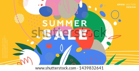 Summer sale trendy banner background. Liquid fluid elements, tropical leaves and flowers. Eps10 vector illustration