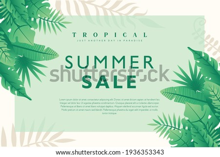 summer sale tropical background vector illustration, Exotic tropical leaves frame Lovely natural frame with tropical