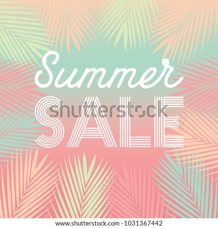 Summer Sale Tropical Paradise, beach, background with palm leaves.