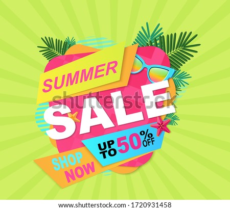 Summer sale, up to 50% off, shop now, fresh bright banner for your website. Isolated vector illustration.