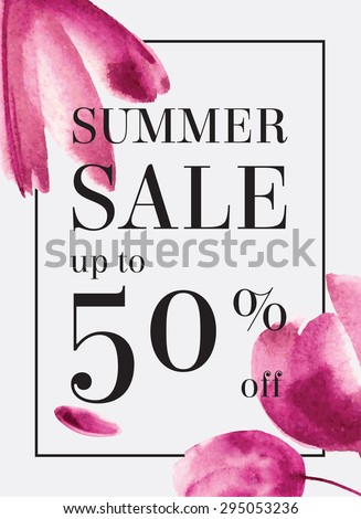 Summer sale up to 50 per cent off. Watercolor design. Web banner or poster for e-commerce, on-line cosmetics shop, fashion & beauty shop, store.