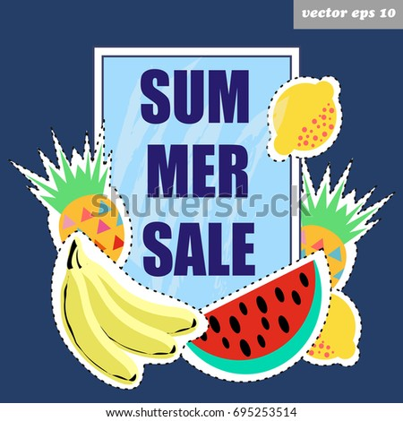 Summer sale vector banner decorated with fruits: bananas, lemons, watermelon and  pineapple. Shopping concept. Good for shop windows, posters, advertising designs, banners, special offer leaflet.