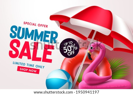 Summer sale vector banner design. Summer sale in white blank space for text with tropical elements discount price for seasonal sale. Vector illustration.