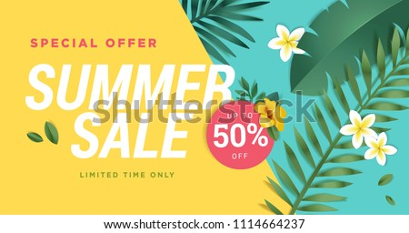 Summer sale vector illustration for mobile and social media banner, poster, shopping ads, marketing material. Lettering concept with summer elements for product promotion.