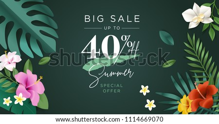 Summer sale vector illustration for mobile and social media banner, poster, shopping ads, marketing material. Lettering concept for product promotion, beauty and cosmetics, fashion, natural product.