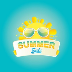 summer sale vector poster. summer happy sun holding sign or banner with special offer sale text