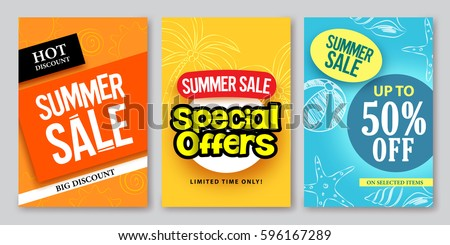 Summer sale vector web banner designs and special offers for summer holiday store shopping promotion with colorful backgrounds and elements. Vector illustration.