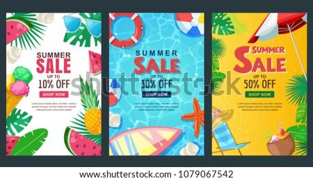 summer sale vertical banner set