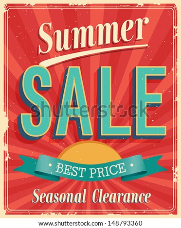 summer sale. vintage card....
