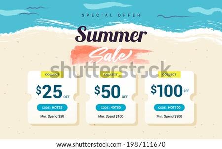 Summer sale voucher template background vector illustration. Voucher coupon