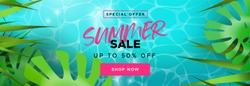 Summer sale web banner for online shop seasonal discount. Tropical plant leaves on blue pool water background.