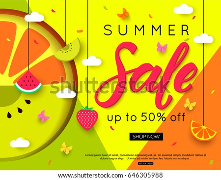 Summer sale with different fruits