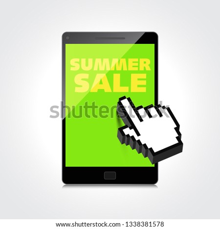 Summer sale words. Markdown, discount on High-quality smartphone screen. Reduced Prices. Special offer. Shopping badge with percentage discount.
