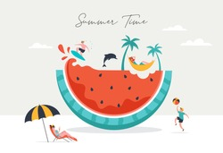 Summer scene, group of people, family and friends having fun against the huge watermelon, surfing, swimming in the pool, drinking cold beverage, playing on the beach