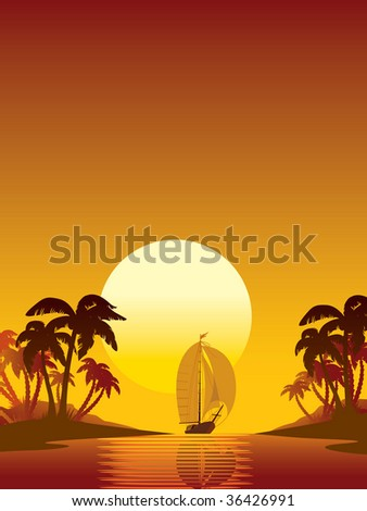 Summer scene: sailing yacht, sunset and island with palms
