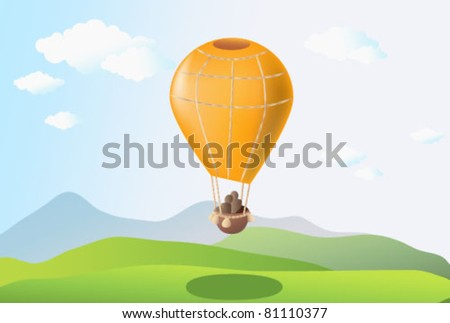 Summer scene with balloon in blue sky