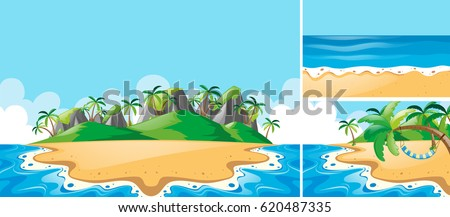 summer scenes with ocean and