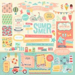 Summer scrapbook set - decorative elements. Vector illustration.