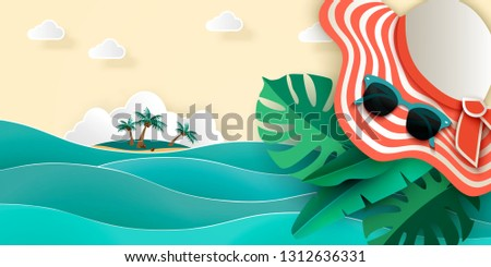 Summer sea background with sea, island with palm trees, sunhat, sunglasses, monstera leaves and other tropical leaves, top view, 3D vector illustration, Paper cut art style