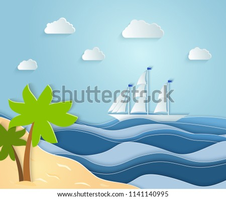 Stock Photo Summer sea picture origami made paper. a sandy Sunny island with a palm tree overlooking a beautiful ship. Vector illustrations, paper art and digital crafts style.