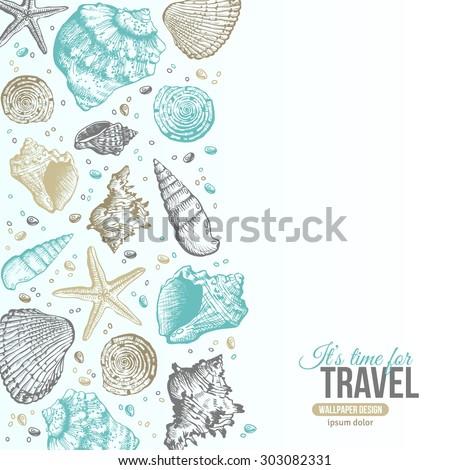summer sea shells postcard