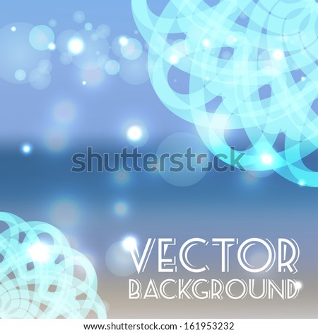 Summer sea vector background with round ornament