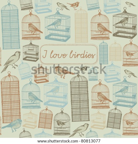 summer seamless background. Birds with cages concept card