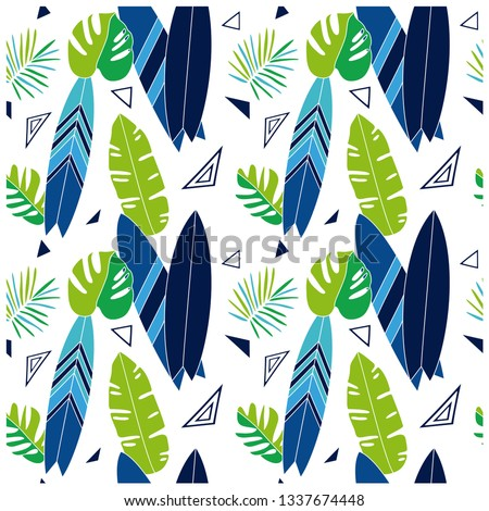 Summer seamless pattern design.Tropical leaf ,surfboard vector print.