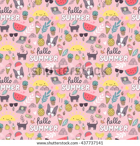 Summer seamless pattern. French bulldog, kitty cat, sun, laptop, cactus, pineapple, watermelon. Adorable animals, characters, food. Wallpaper for wrapping paper, fabric textile design. Vector art.