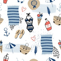 Summer seamless pattern. Ice cream, lemonade, swimsuit, hat, anchor and other travel elements. Vector illustration