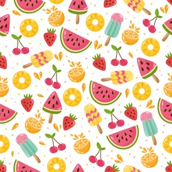 Summer seamless pattern. Illustration with different fruits. Watermelon, cherry, strawberry, ice cream. Background for fabric print, texture and wrapping paper.