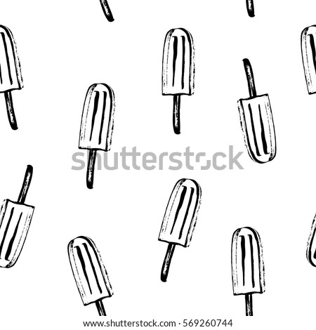 Summer seamless pattern in black and white. Rough black ink sketch of frozen juice popsicles.