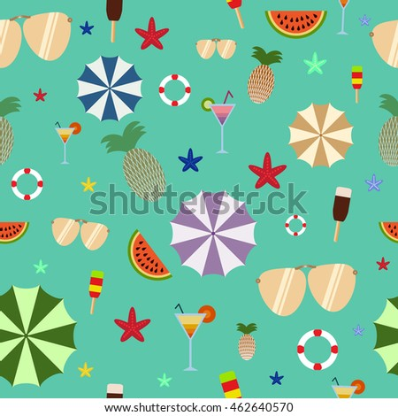 Summer seamless pattern on green background, umbrella, ice cream, sunglasses, watermelon, pineapple
