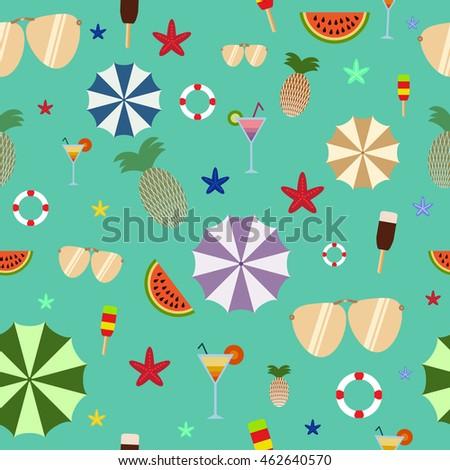 Summer seamless pattern on green background, umbrella, ice cream, sunglasses, watermelon, pineapple