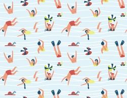 Summer seamless pattern. People swimming in the sea. Vector illustration with swimmers.