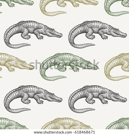 Summer seamless pattern with animals South America. Caiman. Black and green crocodiles on pastel background. Hand drawing of wildlife. Vector illustration art.  Vintage. Design for fabrics, paper