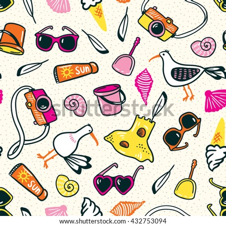 summer seamless pattern with