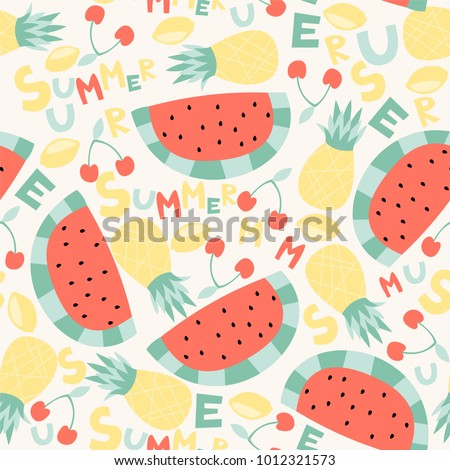 Summer seamless pattern with cute color fruit.