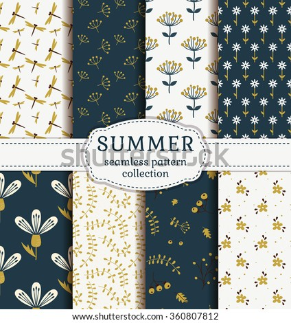 summer seamless patterns with