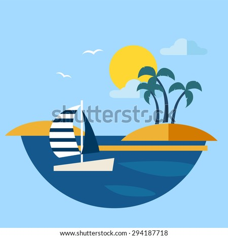 Summer seascape with sailboat Vector illustration