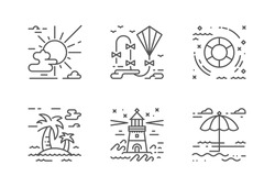 Summer seaside holyday vector icons set. The icons are pixel perfect, with editable stroke, carefully crafted with high attention to the detail. Outlined layer included.