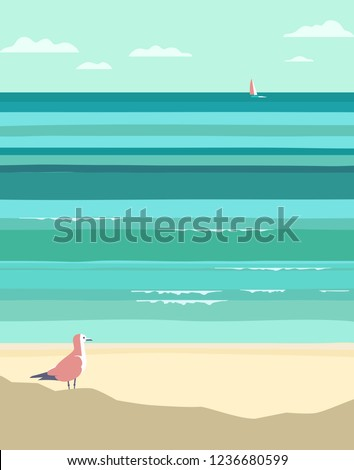 Summer seaside landscape. Vintage pop art style. Yacht sailing in ocean background. Maritime theme for design. Adventure journey, travel vacation vector advertisement template. Sea leisure activity Сток-фото ©