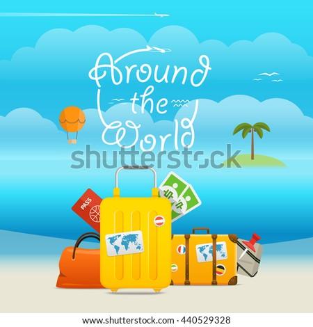 Summer seaside vacation illustration. Summer vacation vector