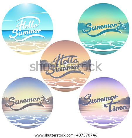 summer seaside view emblems set